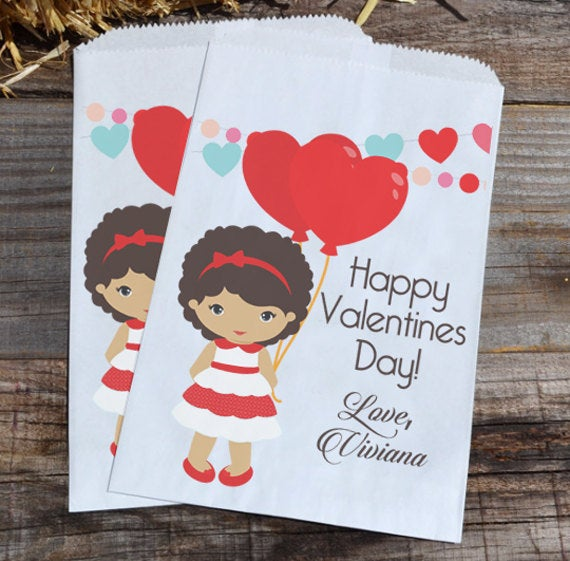 Little Girl Valentines Day Personalized Goodie Bags