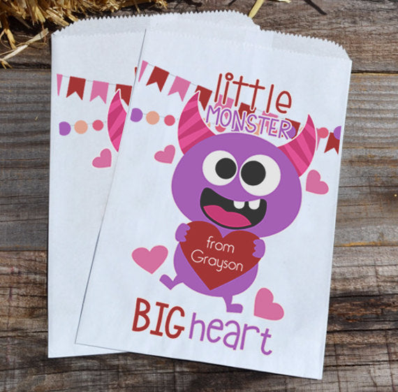 Little Monster Valentines Day Goodie Paper Bags