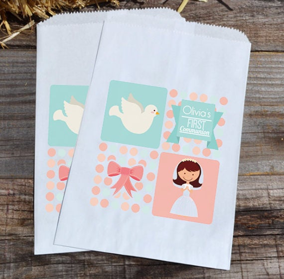 First Communion Personalized Party Favor Bags - Girl with Dove