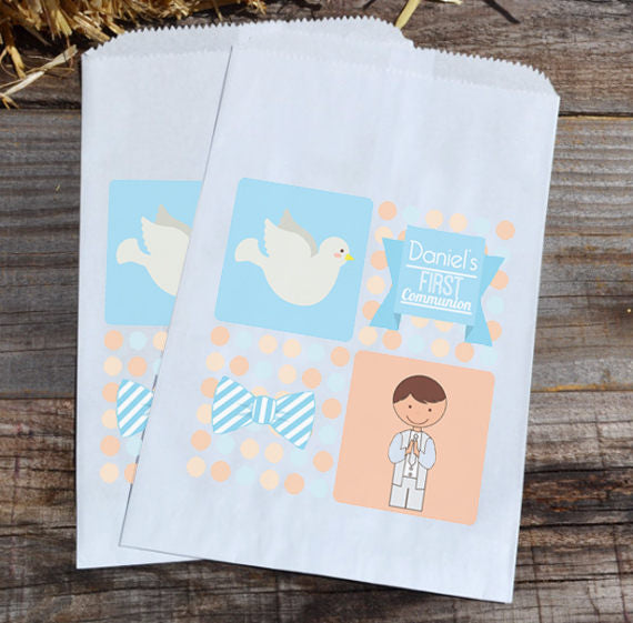 First Communion Party Favor Bags | First Communion Favor | Boys First Communion Bags | Dove Favor Bag | Candy Bags | Candy Buffet Bags