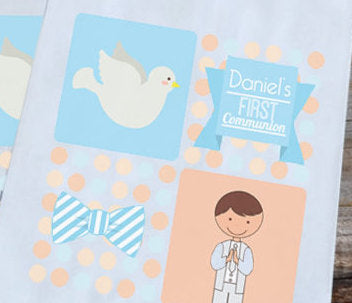 First Communion Party Favor Bags - Boy with Dove