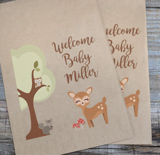 Woodland Creatures Doe Brown Kraft Baby Shower Favor Bags