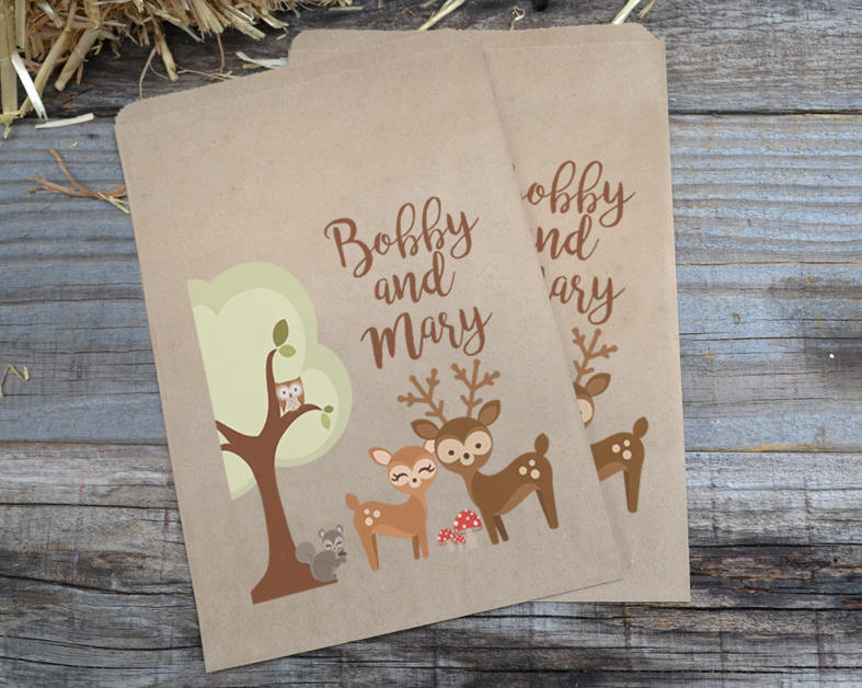 Wedding Candy Bags Woodland Creatures Buck and Doe