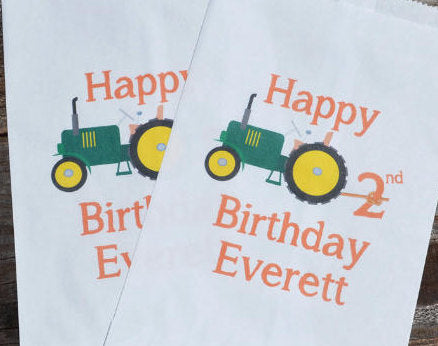 Tractor Farm Party Favor Bags
