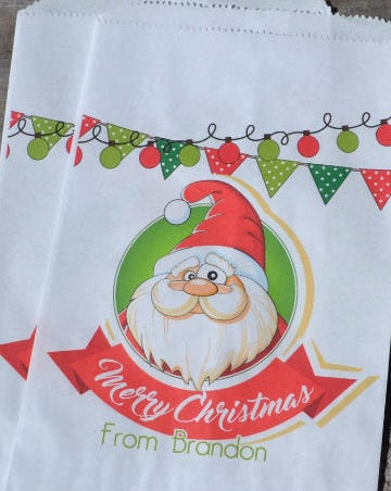 Santa Bag Personalized Goodie Bags | Christmas Candy Bag | Christmas Treat Bag | Santa Claus Popcorn Bags | Candy Bar Bags|Personalized Bags