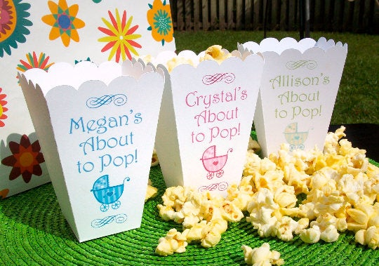 About to Pop Baby Shower Popcorn Boxes with Pram