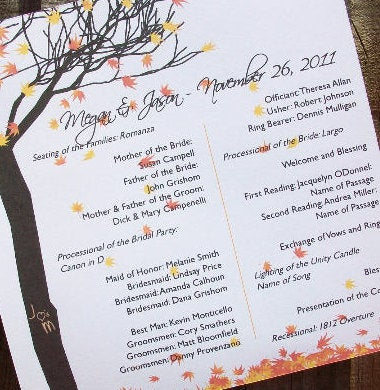 Fall Leaves and Tree Personalized Wedding Programs - 30 Pack