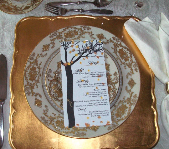 Fall Tree and Leaves Personalized Wedding Menus