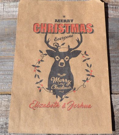 Christmas Deer Head Personalized Goodie Bags | Christmas Cookie Bags | Holiday Favor Bags | Christmas Candy Bags | Christmas Favor Bags