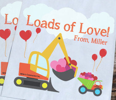Construction Personalized Goodie Bags Valentines Day