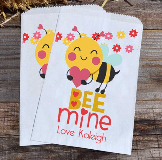 Bumble Bee Mine Valentines Day Personalized Goodie Bags | Valentine's Day Party Favors | Valentines Favor Bags | Paper Bags | Bee Bags