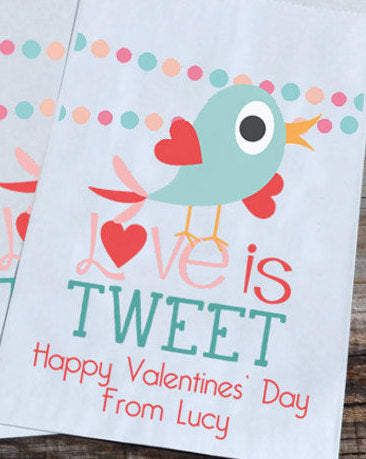 Birdie Love is Tweet Valentines Day Personalized Goodie Bags | Valentine's Day Party Favors Bags | Bird Valentine Goody Bags | Paper Bags