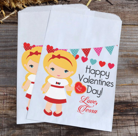 Blonde Girl Personalized Valentines Day Goodie Bags