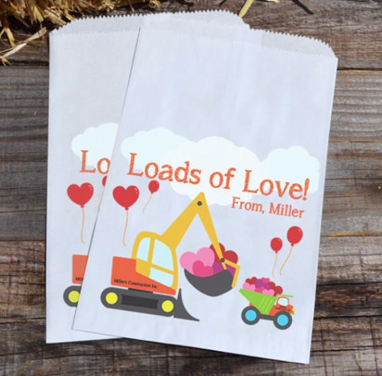 Construction Personalized Goodie Bags Valentines Day | Backhoe Bags | Boys Party Favors | Valentines Treat Bags | Custom Valentines Bags