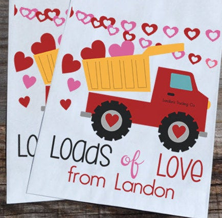 Construction Dump Truck Valentines Day Goodie Bags