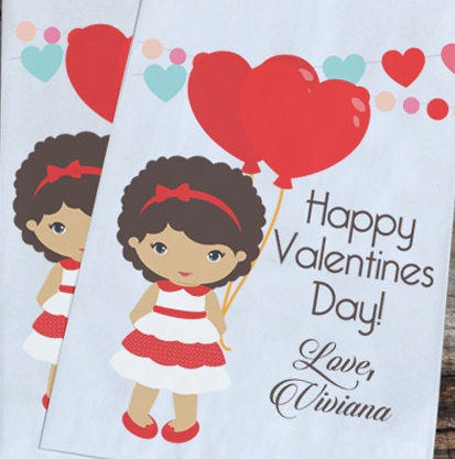 Little Girl Valentines Day Personalized Goodie Bags | Valentine Girl Party Favors | Valentine Goody Bags | Heart Balloons Favor Bags