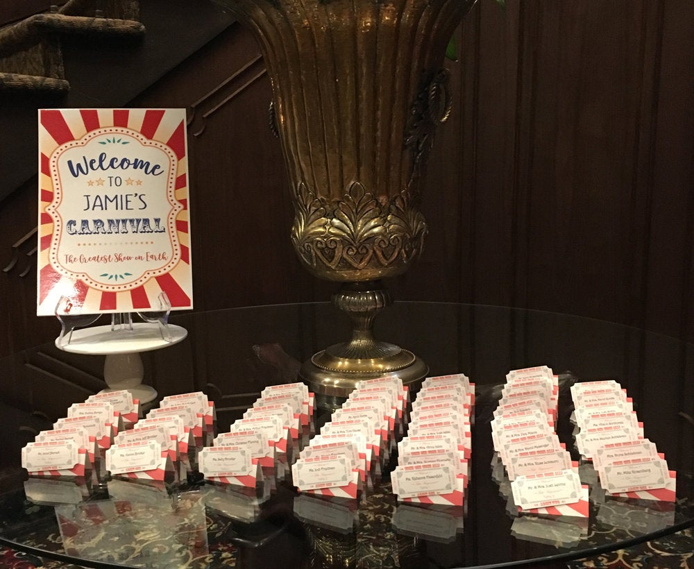 Carnival Circus Ticket Personalized Seating Cards