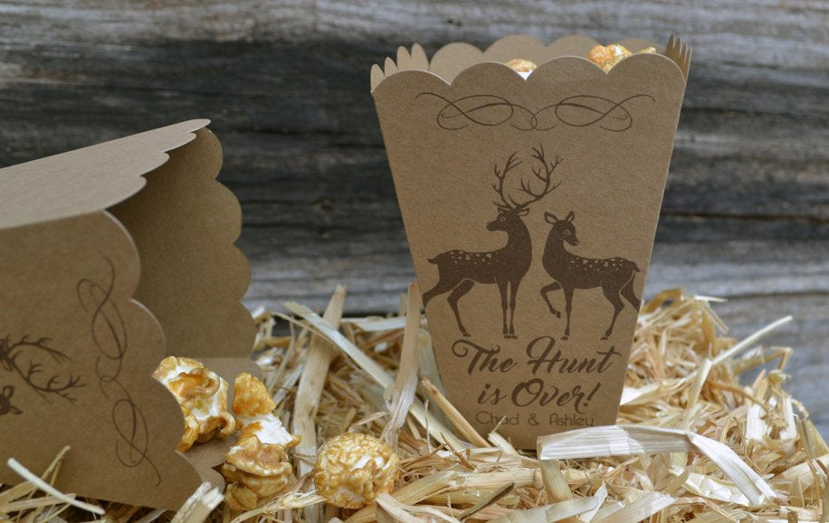 The Hunt is Over Deer Brown Kraft Wedding Favor Popcorn Bar Boxes