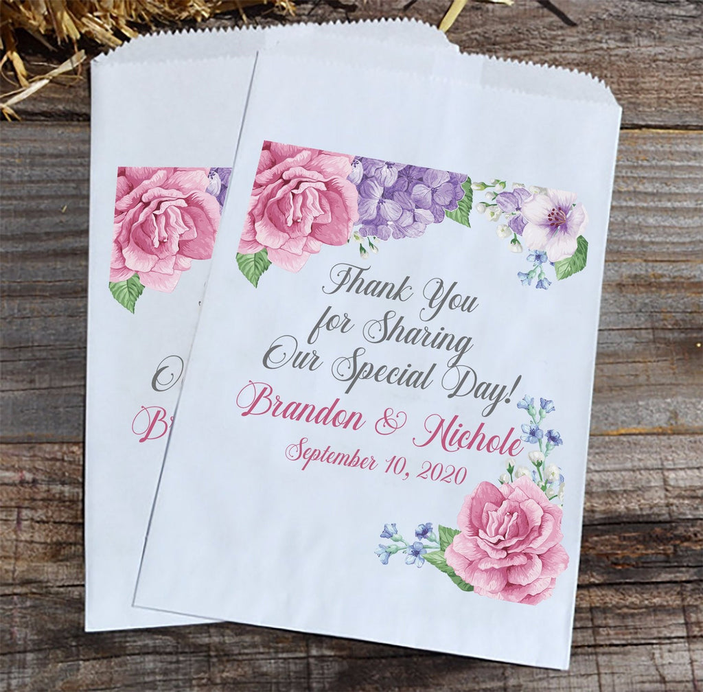 Floral Personalized Wedding Favor Bags - Romantic Wedding Candy Bar - Roses Hydrangea Flower Favor Bags for Spring Weddings