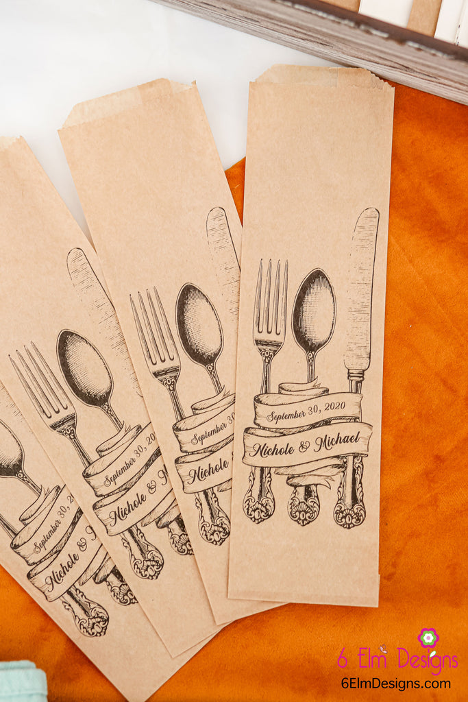 Vintage Fork Spoon and Knife Wedding Silverware Utensil Flatware Bags