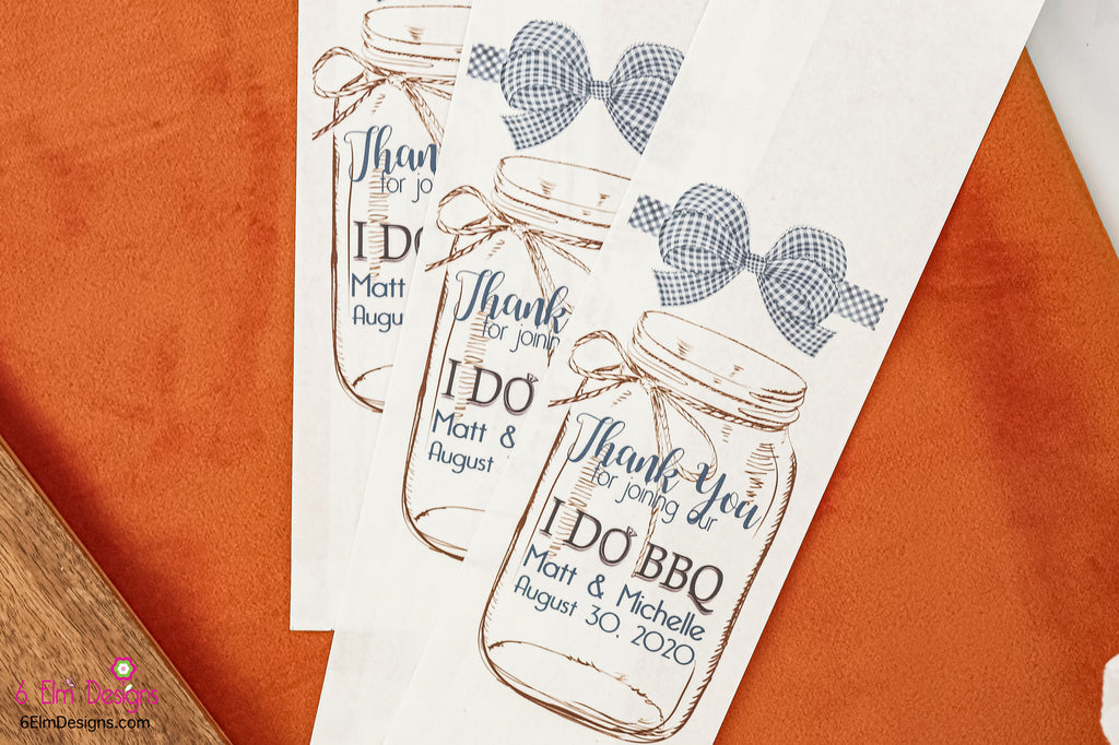 I Do BBQ White Bags with Blue Check Ribbon Wedding or Engagement Party Silverware Utensil Flatware Bags