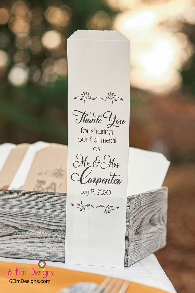Thank You for Sharing Our First Meal Together Wedding Silverware Utensil Flatware Bags