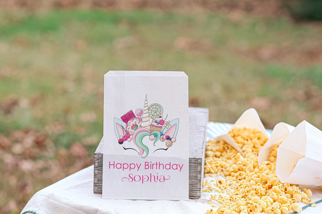 Unicorn Birthday Candy Favor Bags