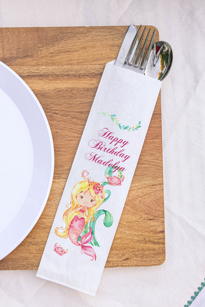 Mermaid Birthday Silverware Bags Utensil Flatware Bags Blonde Hair Under the Sea