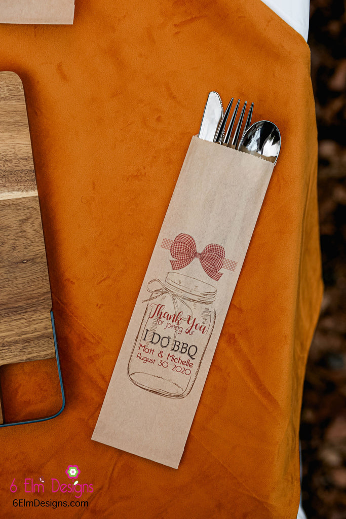 I Do BBQ Kraft with Red Check Ribbon Wedding or Engagement Party Silverware Utensil Flatware Bags