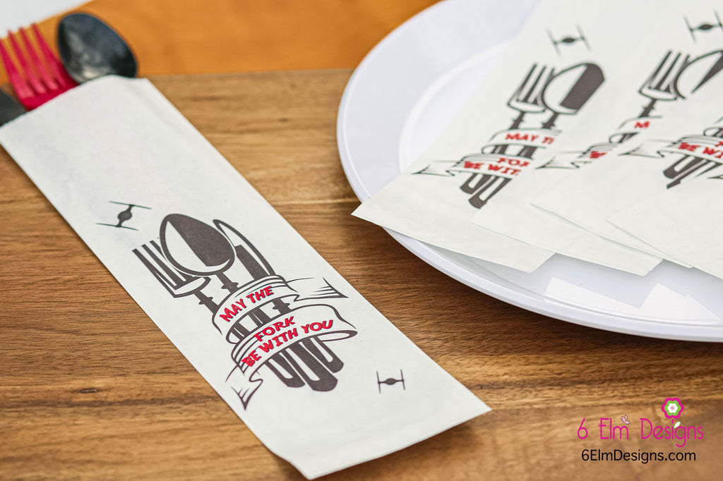 May the Fork Be With You Birthday Party Silverware Utensil Flatware Bags