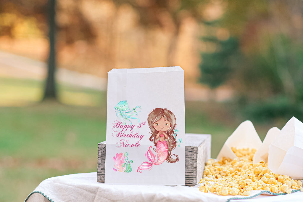 Mermaid Birthday Theme Favor Bags Brunette Under the Sea