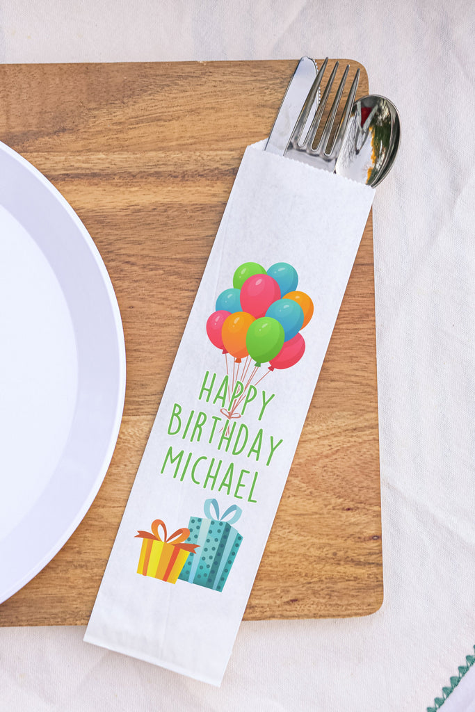 Happy Birthday Balloons and Presents Silverware Bags Utensil Flatware Bags