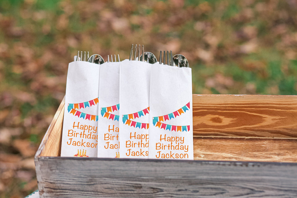 Happy Birthday Cake and Banners Silverware Bags Utensil Flatware Bags