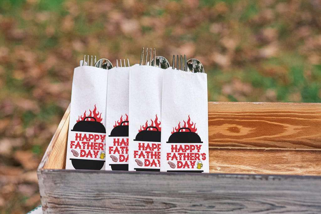 Father's Day Grill with Beer and Steak Silverware Bags Utensil Flatware Bags