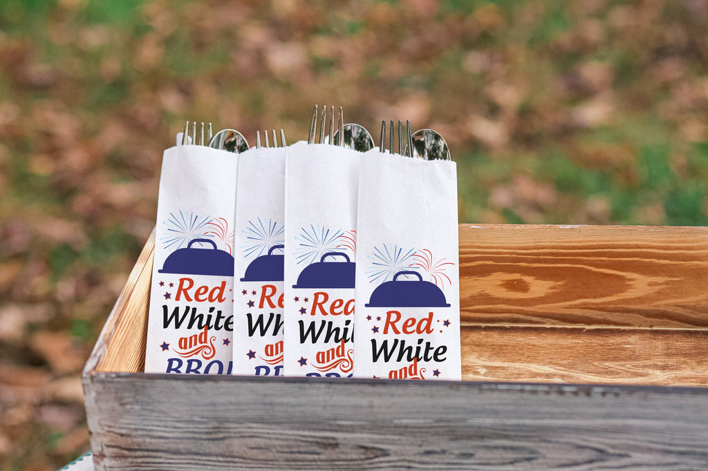 Fourth of July BBQ, Red White and BBQ Personalized Silverware Bags Utensil Flatware Bags, July 4th, July Fourth