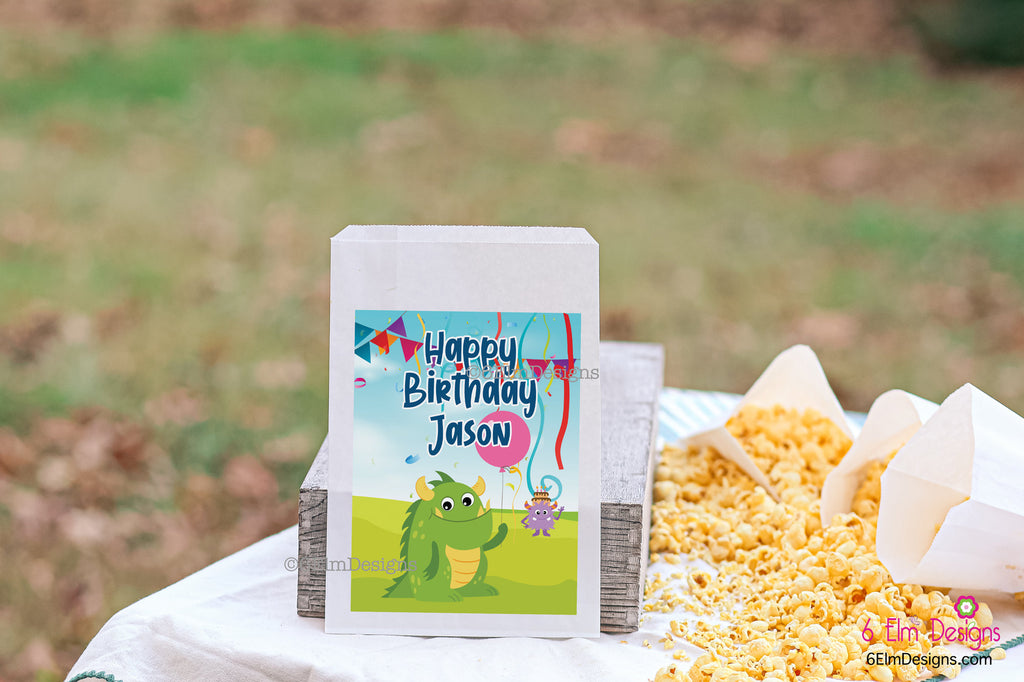 Happy Birthday Monster Kids Party Favor Bags, Birthday Favor Goodie Bags