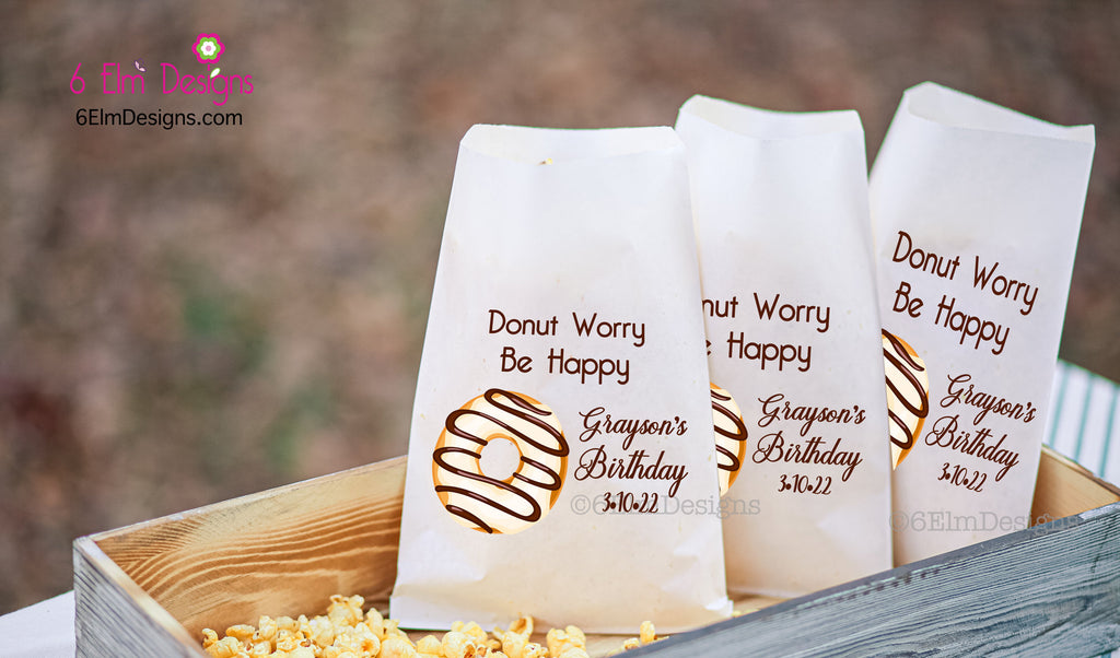 Donut Bags for Birthday Party, Doughnut Bags, Donut Worry Be Happy Personalized Goodie Bag