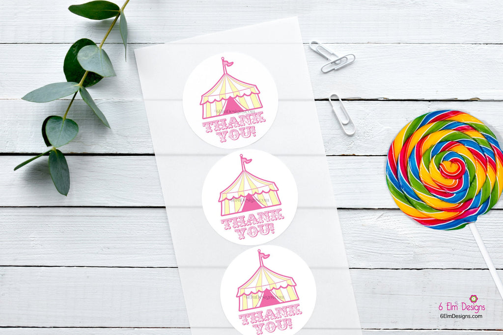 Circus Tent Stickers | Carnival Tent Stickers | Thank You Stickers | Thank You Bag Seals | Treat Bag Stickers | Circus Theme | Pink Tent