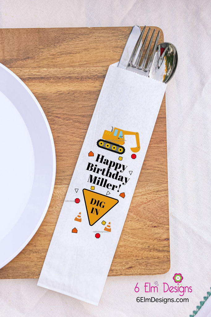 Construction Birthday Silverware Bags, Excavator Utensil Bags, Personalized Construction Party Silverware Bags