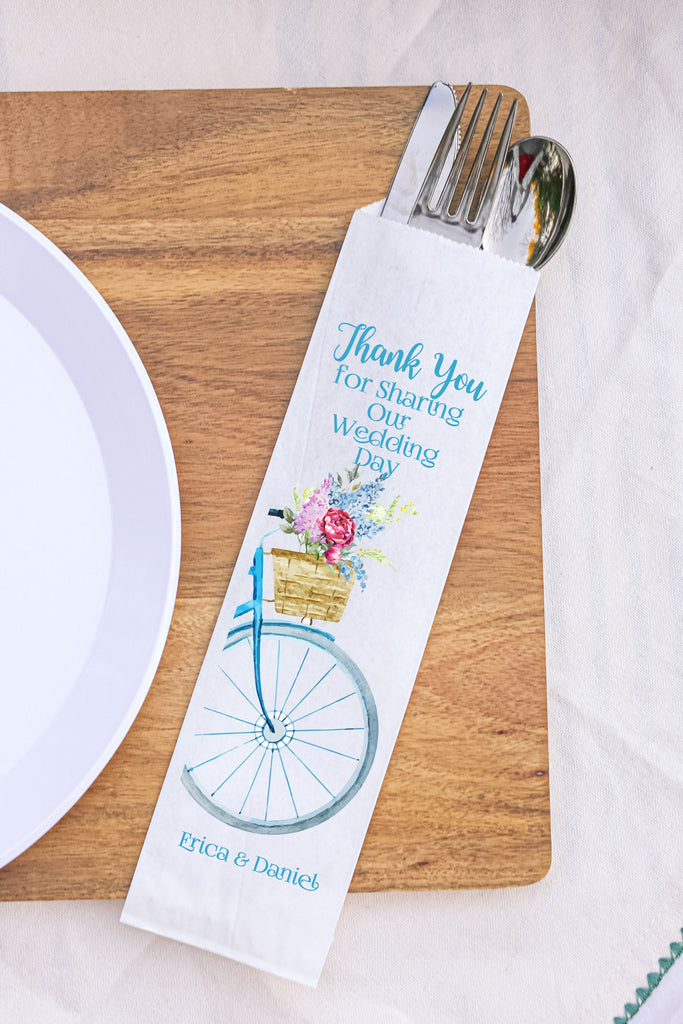 Thank You for Sharing Our Wedding Day Bicycle Wedding Silverware Utensil Flatware Bags