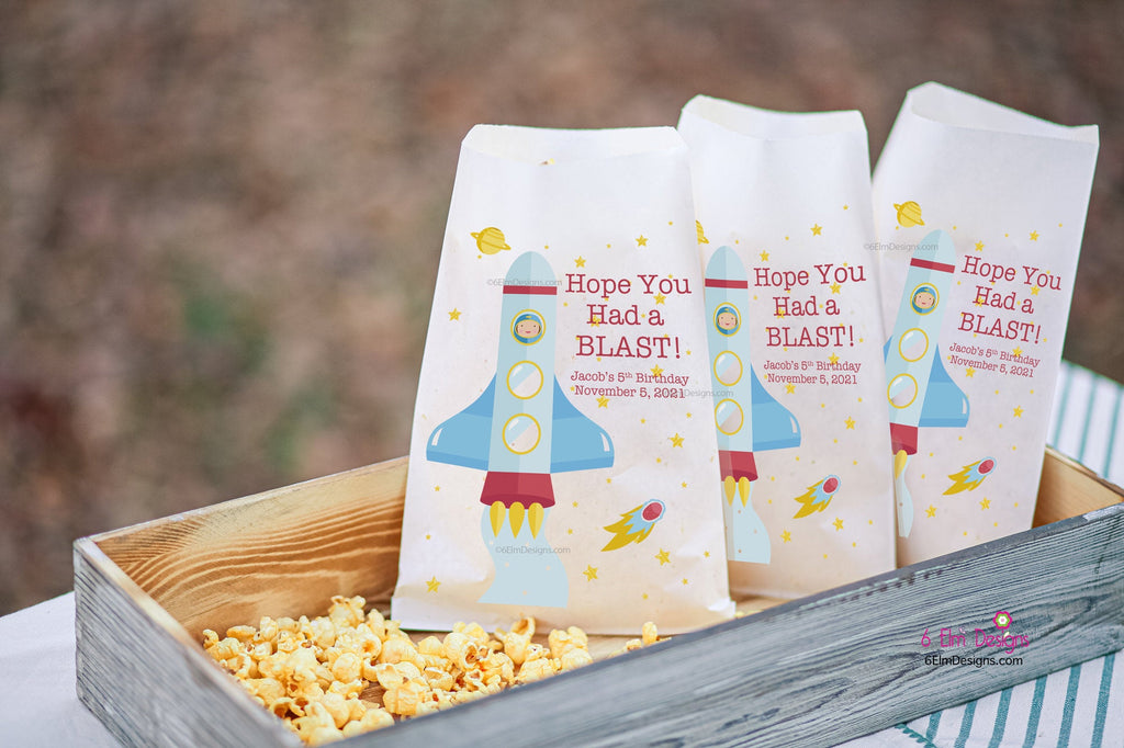 Hope You Had a Blast Personalized Birthday Goodie Bags, Outer Space Birthday Party Bags Rocket Ship Boys Party Favors
