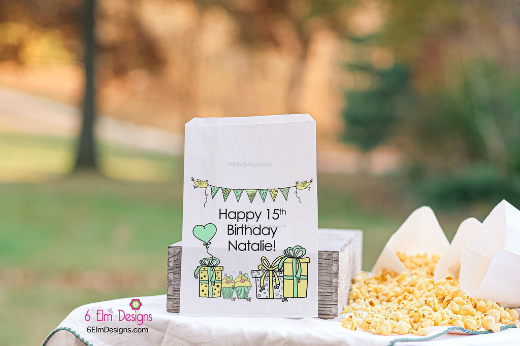 Girls Birthday Presents Cute Party Favor Bags | Birthday Party Favors | Popcorn Bags | Candy Bars | Popcorn Bars
