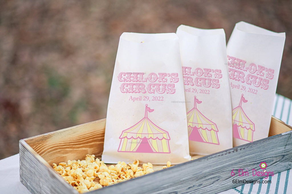 Girls Circus Carnival Party Favor Bags | Circus Party Favors, Popcorn Bags, Candy Bars, Popcorn Bars, Carnival Birthday, Girls Circus