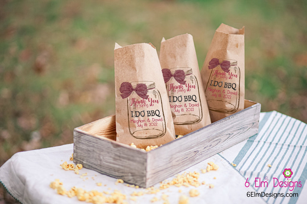 I Do BBQ Personalized Wedding Favor Bags - Country Wedding Candy Bar - Red Gingham Bow Mason Jar Favor Bags for Weddings
