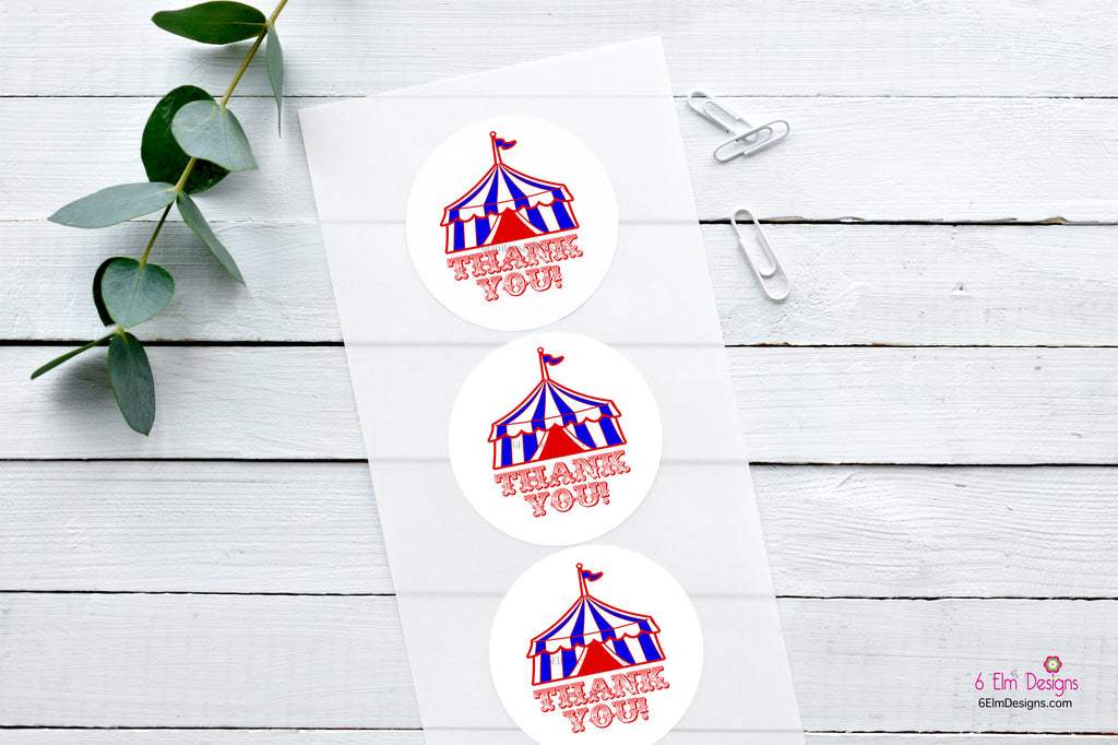 Circus Tent Thank You Stickers Thank You Stickers Thank You Bag Seals Carnival Treat Bag Stickers  Circus Theme  Red Tent