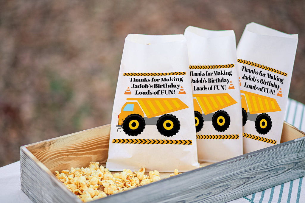 Construction Dump Truck Personalized Birthday Goodie Bags, Dump Truck Bags Boys Party Favors