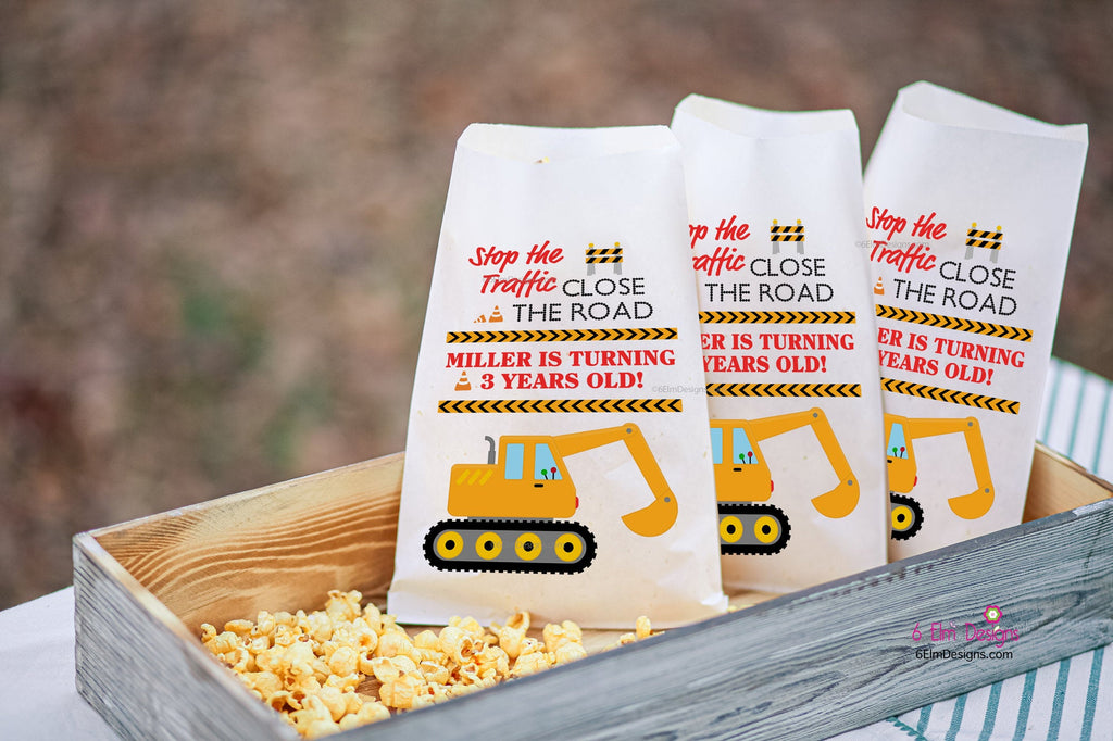 Construction Excavator Personalized Birthday Goodie Bags, Backhoe Bags Boys Party Favors