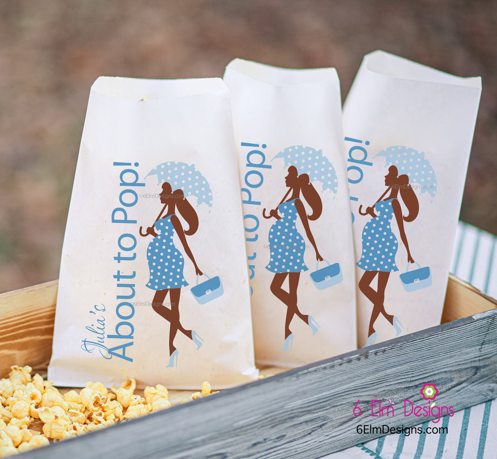 About to Pop African American Umbrella It's a Boy Party Favor Bags, African American Boy Baby Shower Goodie Bags Baby Shower
