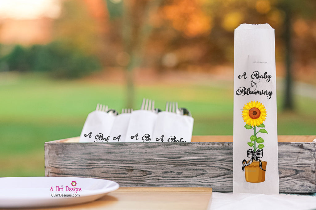 A Baby is Blooming Sunflower Baby Shower Silverware Utensil Flatware Bags