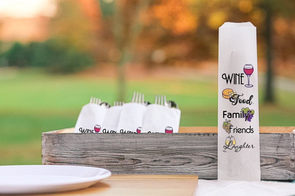 Wine, Food, Family, Friends and Laughter Silverware Bags Utensil Flatware Bags, Girls Night Decor, Wine and Cheese Silverware Bags